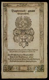 """aus dem Hessischen Wappenbuch, ca 1625 Kupferstich,Heraldik - Breydenbach,Breydenstein: """" Breydenbach genannt Breydenstein """""""